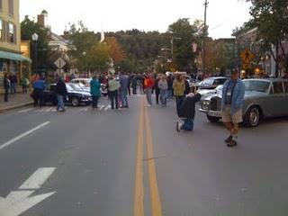 Main Street, Stowe, VT: At 6:30, show cars were still arriving