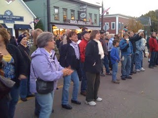 Main Street, Stowe, VT: Listening to BeatleMania