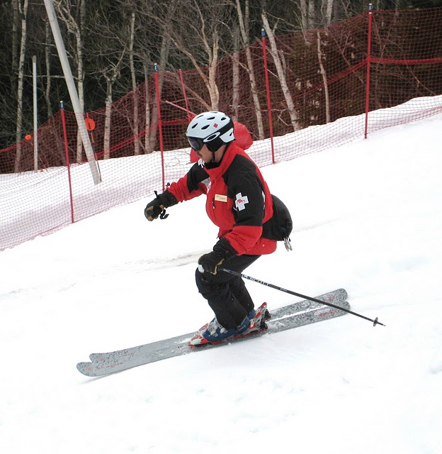 Skiing the race course on upper Main Street at Stowe Mountain Resort