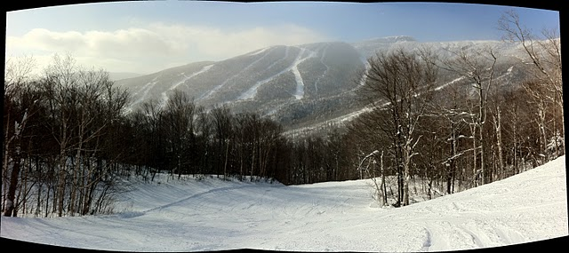 A Panoramic Photo from the top of West Run at Stowe Mountain Resort