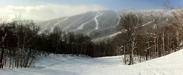 An Autostitched Panoramic Photo from the top of West Run at Stowe Mountain Resort