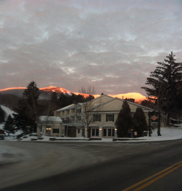 Alpenglow behind the Inn at the Mountain, Stowe Mountain Resort