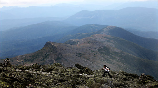 Lori Duff for The New York Times  A hiker heads to the summit of Mount Washington, New England's highest peak