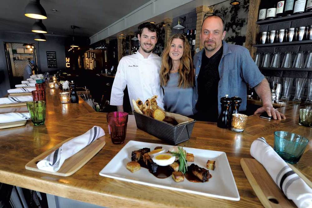 Chef Aaron Martin with owners Jamie Persky and Mark Rosman at Plate in Stowe   ☆   Photo by Jeb Wallace-Brodeur