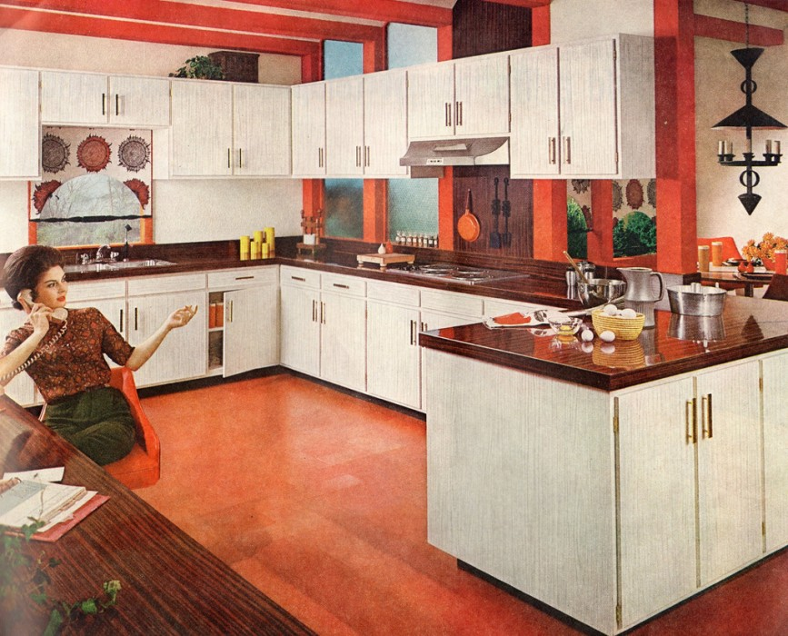 A kitchen from the 1960's, courtesy of Veterans United. This kitchen is large, functional and features a more open layout, perfect for cooking and entertaining.