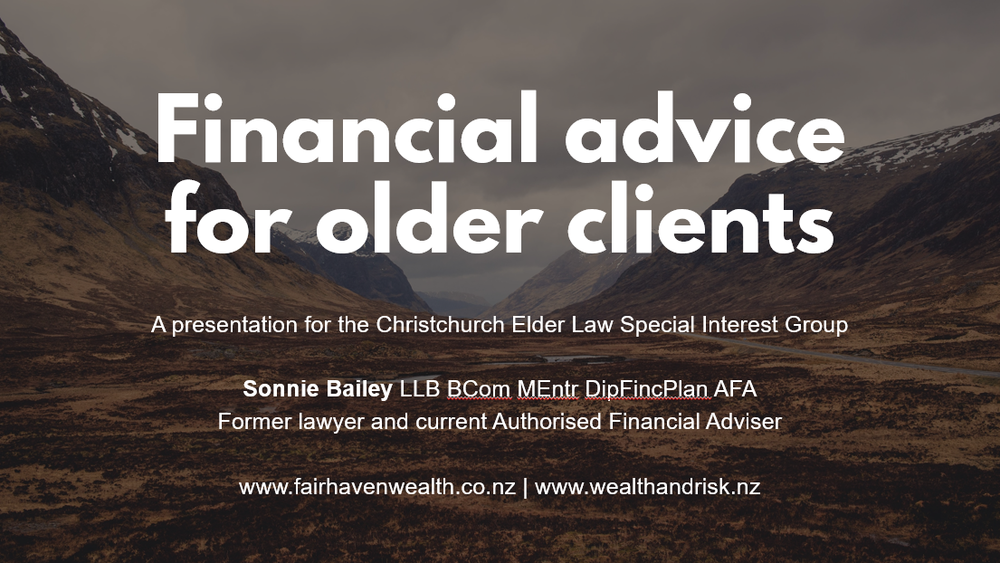 Financial advice for older clients - presentation for lawyers