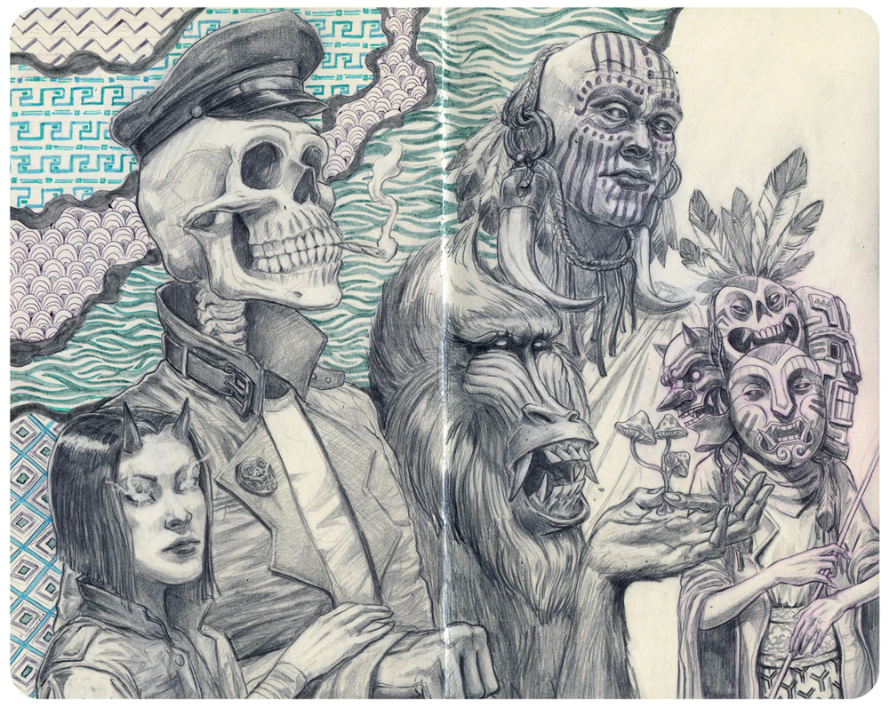 Visitors from the Astral Plane. 8.5 x 10 (graphite & marker) Moleskine.