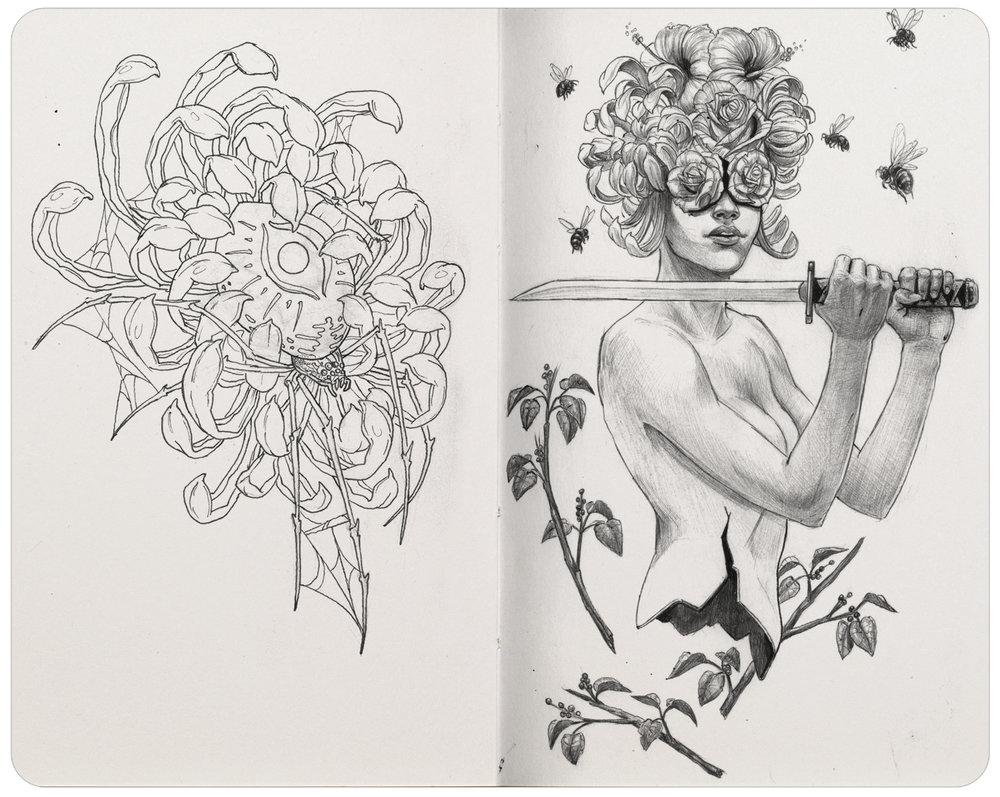 Left: Pigma Micron pen. Right: Ballpoint pen.