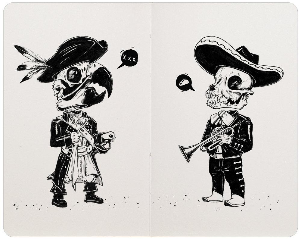 'Tacos y Cervezas'.Pigma Micron pen & brush pen.