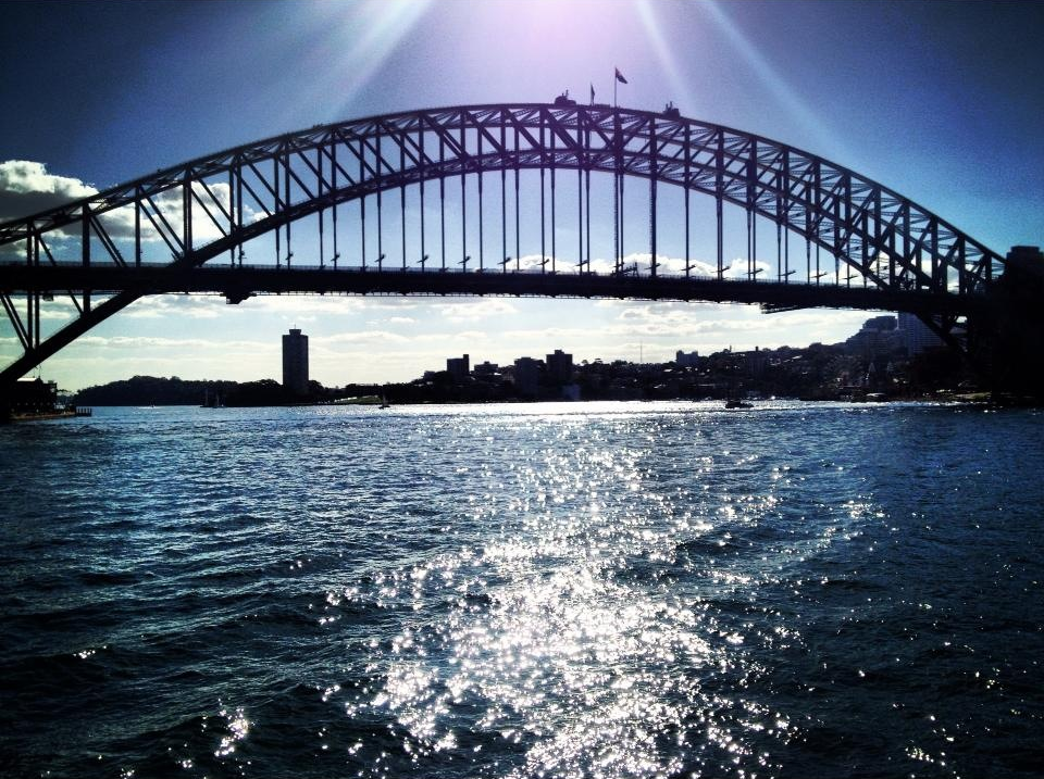 View of the Sydney Harbour Bridge on the ferry to Manly (photo cred: India Morish)