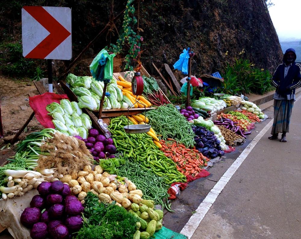 Rainbow of veggies on the road to Kandy
