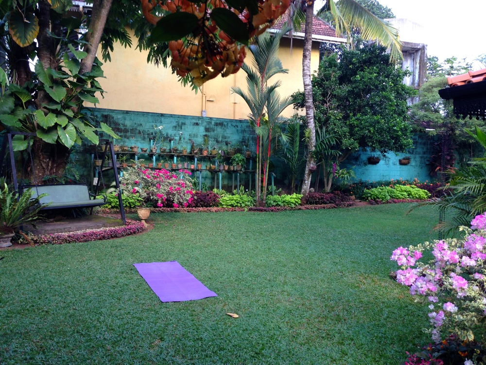 Doing some morning yoga at our guesthouse in Colombo