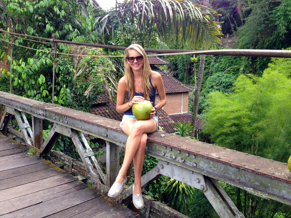 Taking a break with a coconut on the walk to Alchemy