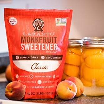 lakanto monkfruiter sweetener - Monk fruit is a natural, plant-based, fructose-free, zero-calorie sweetener that does not elevate blood sugar or insulin. Lakanto blends monk fruit with erythritol (a sugar alcohol that doesn't cause gas/bloating like the others!) to match the sweetness of sugar so you can use this as a 1:1 sugar replacement in baking and cooking. I love the Golden one as it tastes like brown sugar, but they also offer Classic White.