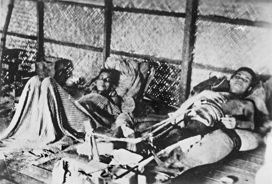 Emacipated patients in a hospital hut at Nakom Paton on the Burma-Thailand railway in 1942, Photo courtesy: Kevin Blackburn and Australian War Memorial, Canberra