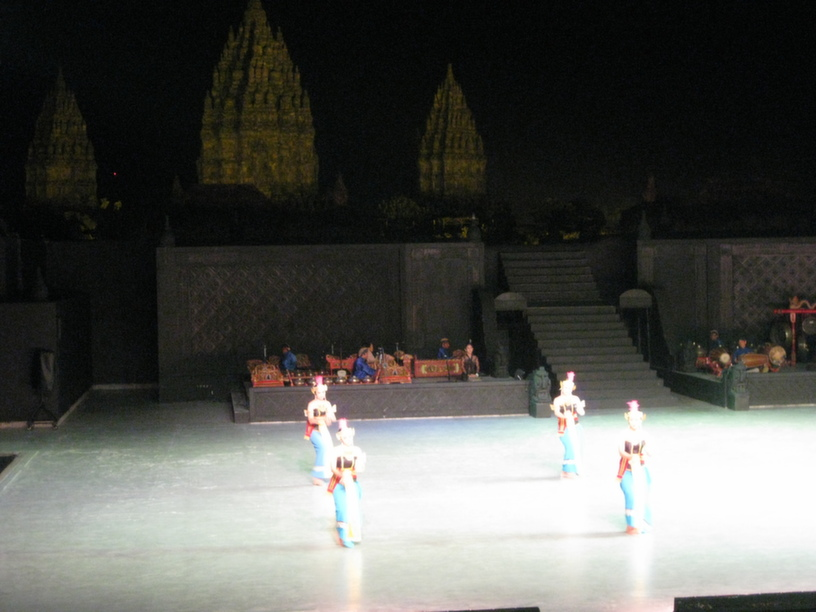 The Hindu epic Ramayana being performed at the open-air stage inside the Prambanan temple complex
