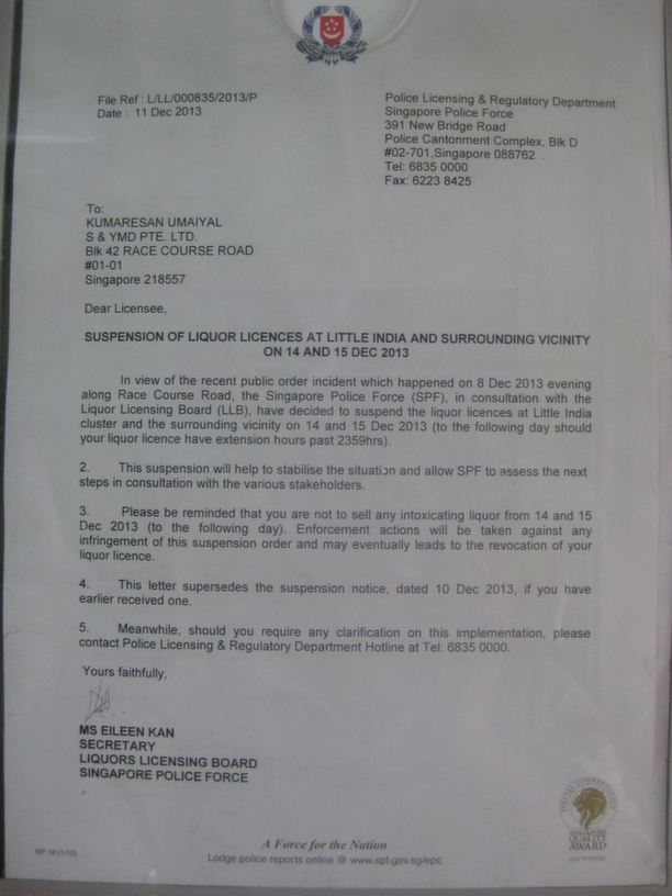 The police notification on suspension of liquor license placed in one of the shops