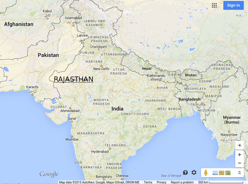 Rajasthan, Courtesy: Google Maps