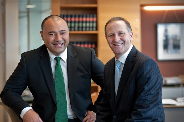 Minister of Corrections Hon Peseta Sam Lotu-Iiga with the Prime Minister John Key, Courtesy: national.org.nz