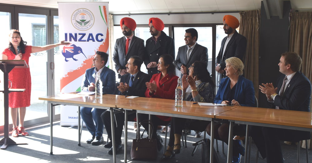 Ms Parminder Kaur introducing members of INZAOC with Minister Nicky Wagner and Councillor Deon Swiggs in rapt attention during the Association's launch event on Sunday