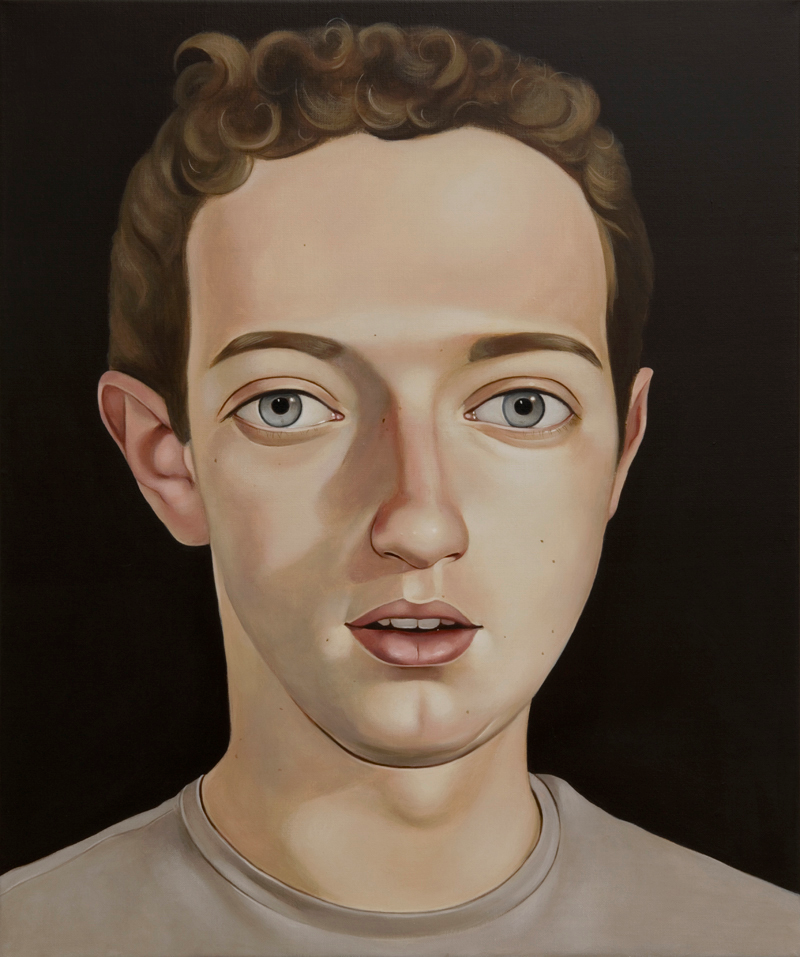 Mark Zuckerberg, 2010 Acrylic on linen   19 11⁄16 inches x 23 5⁄8 in (50 x 60 cm)