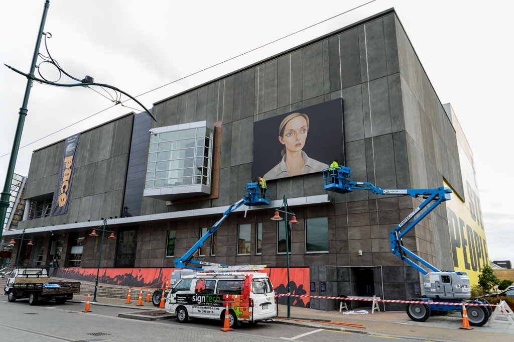 tracywilliamsltd :      Peter Stichbury  was commissioned to create a public art work i n honor of the Christchurch Art Gallery's 10th anniversary. Here you can see  NDE  being installed.  Learn more about the project and process .