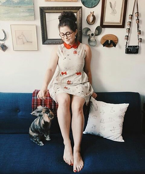 Skadette Noelle (and her bunny), still so darling in our Cleveland Bound Dress🚣🍃✨. Thanks for all the love @noelledowning! (textile design collab with @adamvicarel 💪) #23skidooclothes