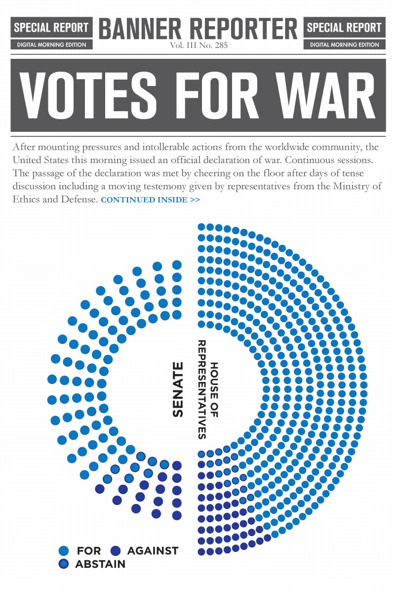 "An infographic from a fictional news app showing overwhelming support for war in the world of ""Cancer."""