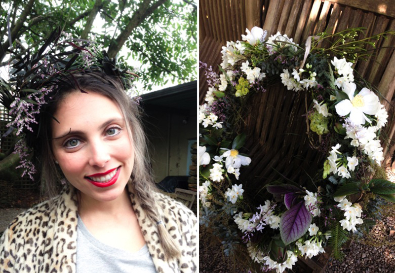 Evy - our muse and model; fresh floral wreath - No greater Love workshop