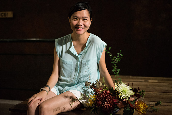 Yan Hao with her floral arrangement.