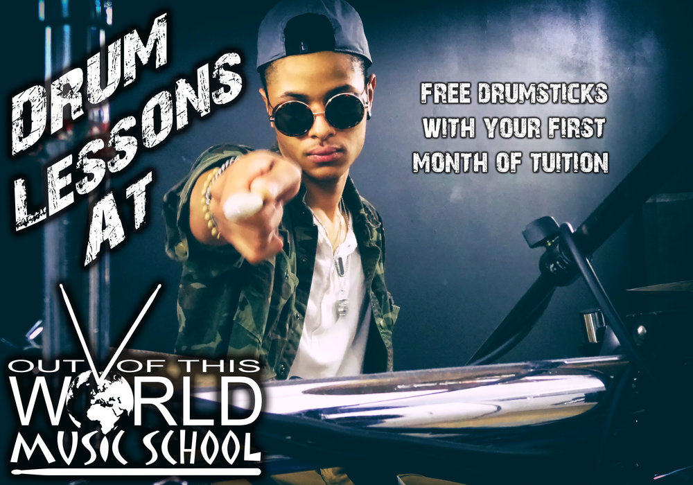 Drum lessons are a great way to release energy, increase dexterity, relieve stress and exercise in a fun, musical way! We invite you to try a free 30 minute drum lesson and feel the beat yourself!     We are currently offering a free pair of drumsticks with the first month of tuition to incoming students through the month of September.  Just mention promo code FEELTHEBEAT when you sign up !