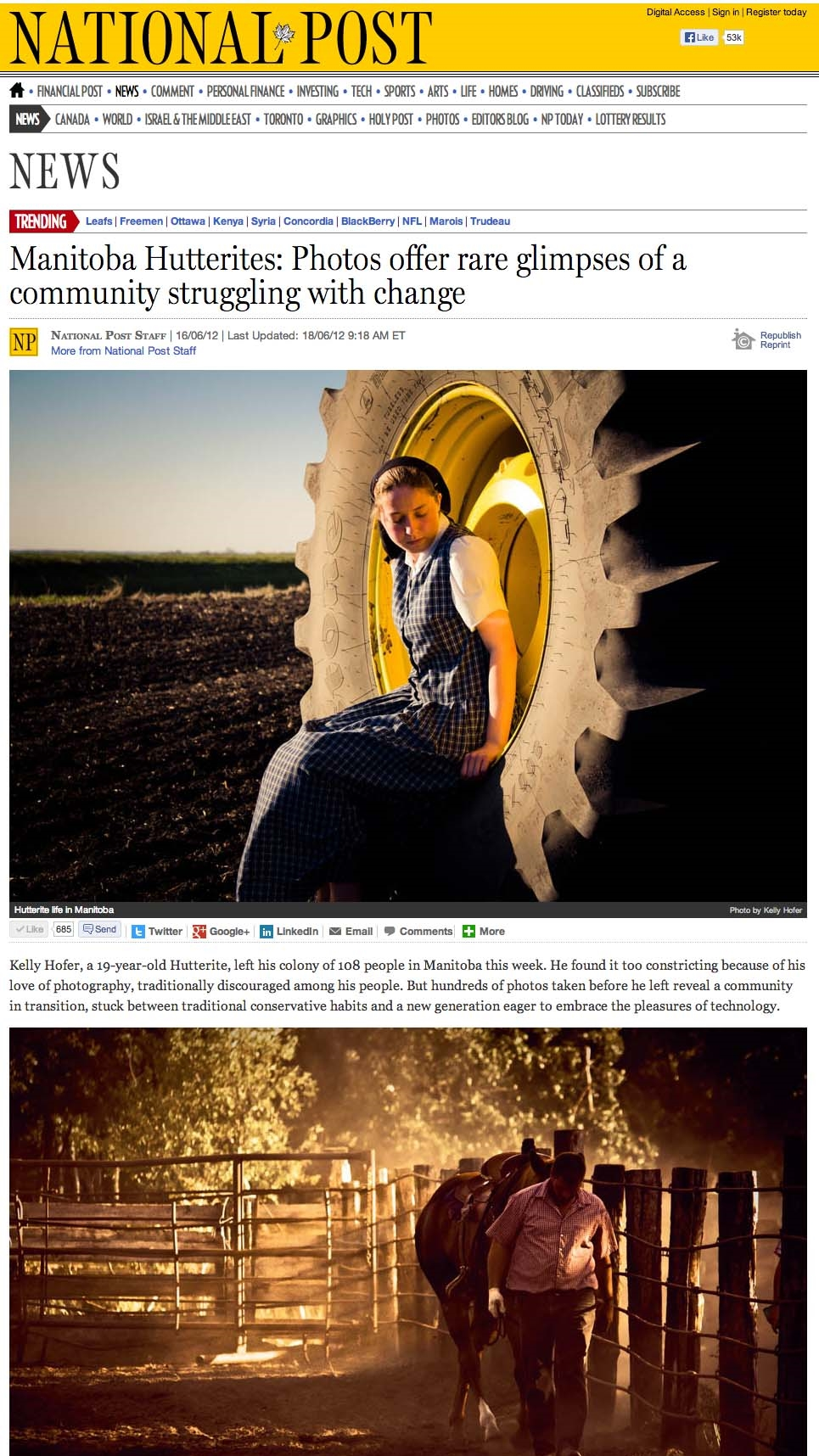 Manitoba Hutterites  Photos offer rare glimpses of a community struggling with change   National Post copy.jpg