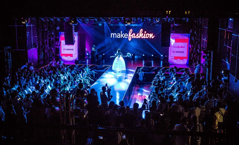 My dress from the MakeFashion show in Calgary on the runway in Shenzhen. Photo credit (MAKE)