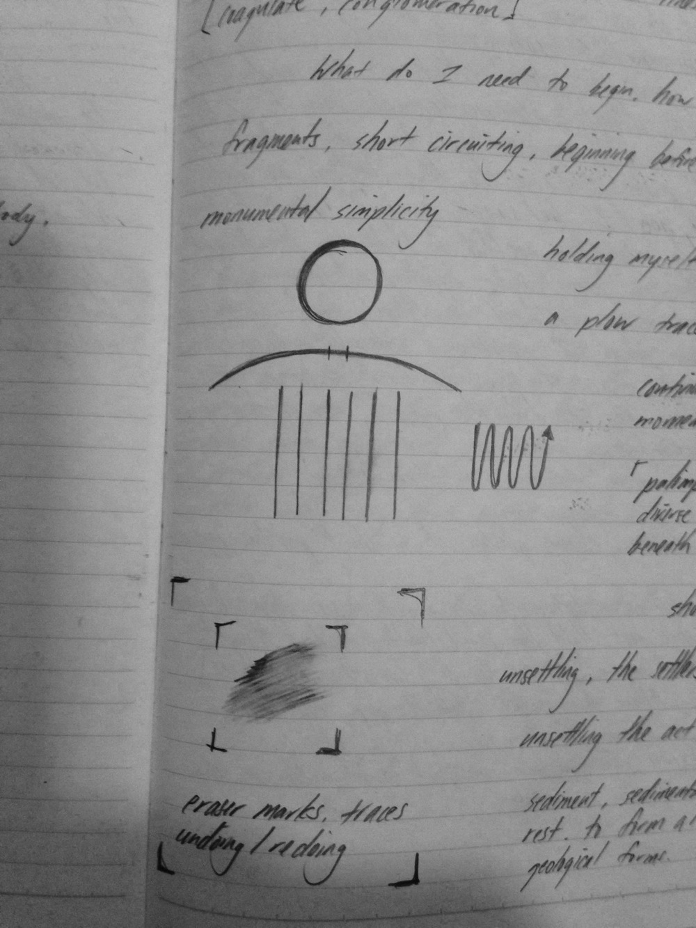 image drawn thinking of the yoke of the shoulders, the head, the fields, and an unending line as in the Boustrophedon. (School Notebook)