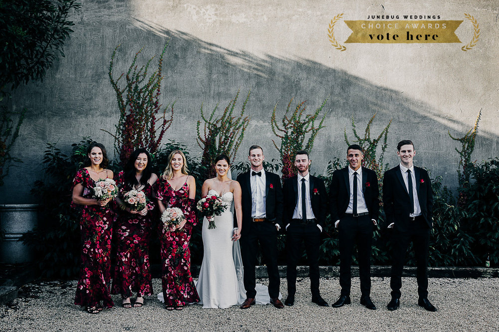 Rachel + Balke and the slick looking bridal party are nominated for best Bridesmaid + Groomsmen style over at Junebug Weddings!