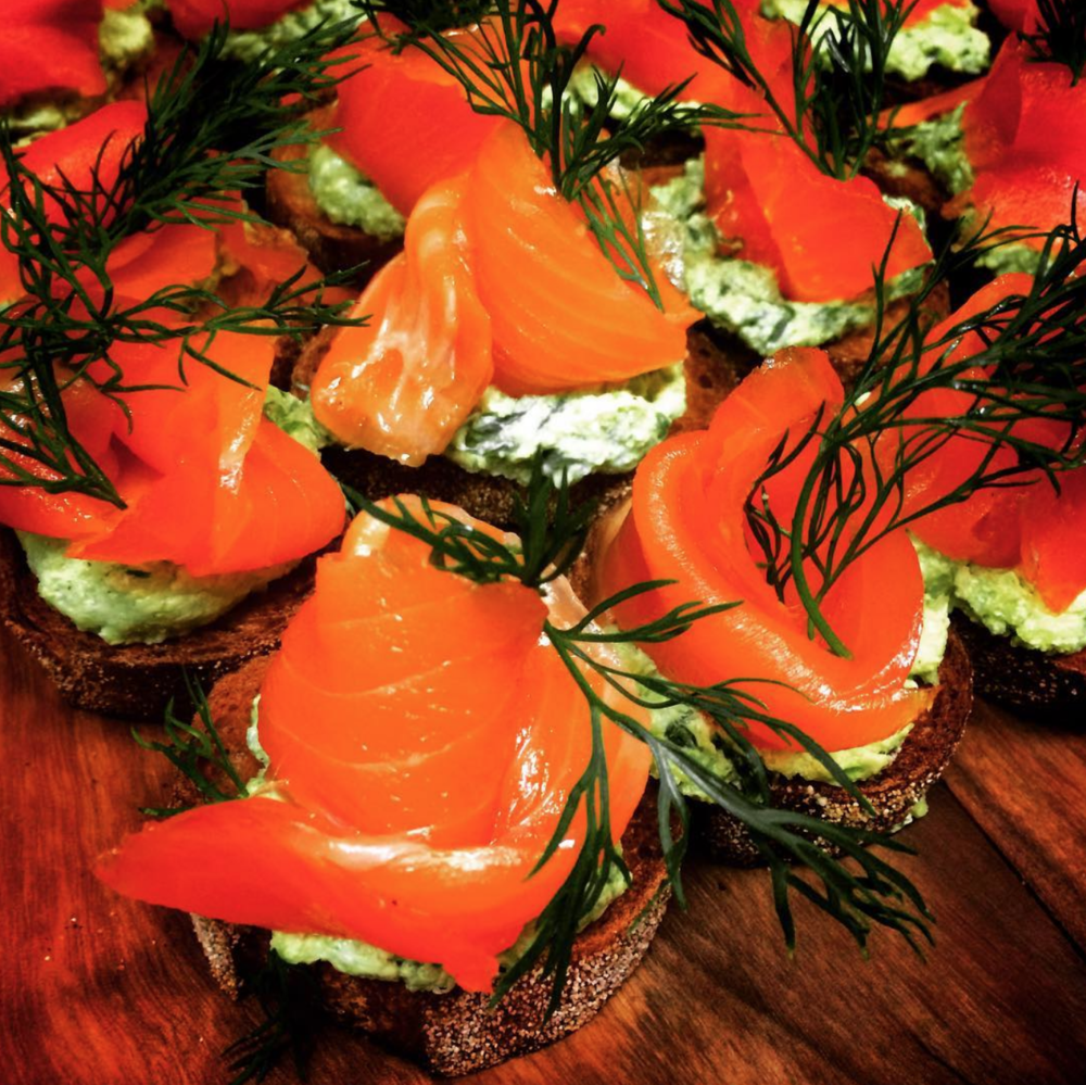 Smoked Salmon Toasts with Chive Creme Fraiche