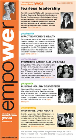 YWCA GT Email Newsletter