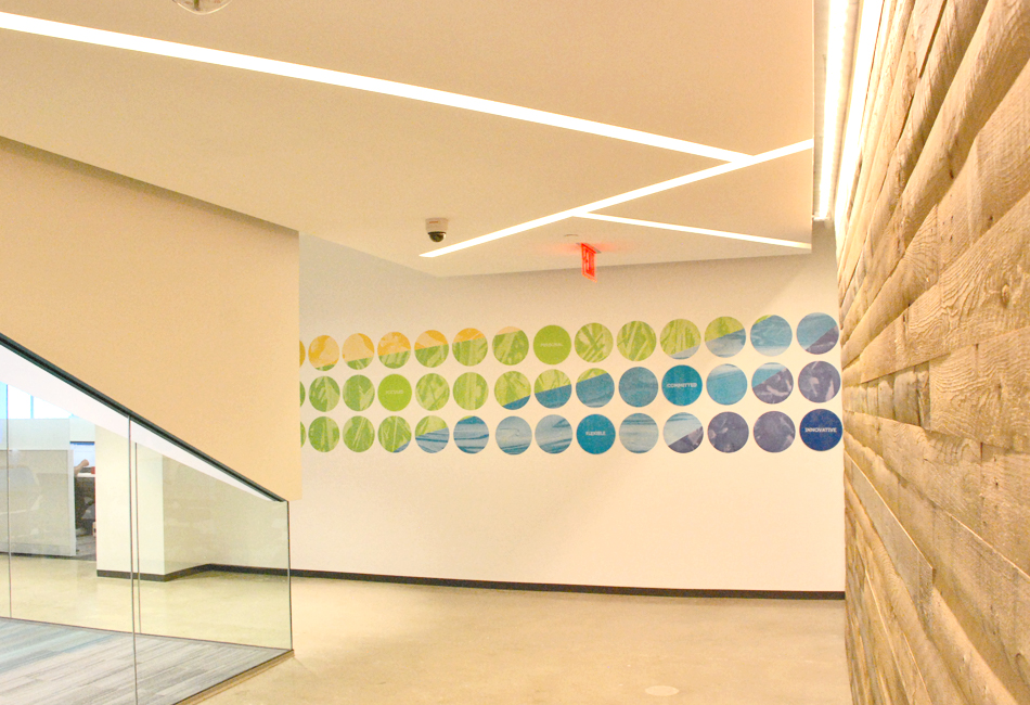 "The organization's philosophy of ""always exploring"" helped to inform the design of the interior office space. Images from nature, combined with keywords from their mission statement, were used to create spaces that reinforce the ideals of the company."