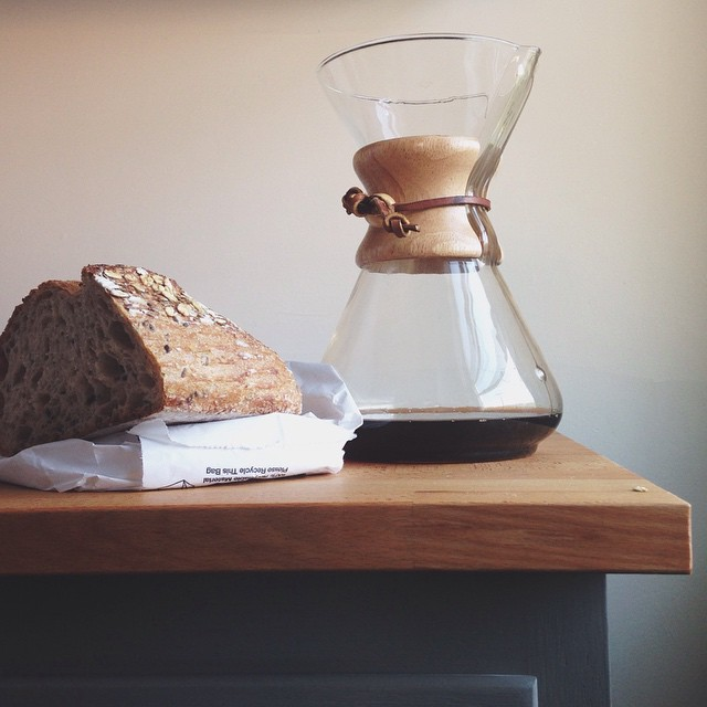 Commonplace Coffee and toast with Five Points bread. Every morning, please.     #breakfast #toast #pittsburgh #commonplacecoffee #chemex #sourdough #saturdayvibes #saturdaymorning