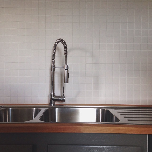 Back-splashed. Grouted.     #kitchen #newhome #oldhouse #tile #sink #white #grey