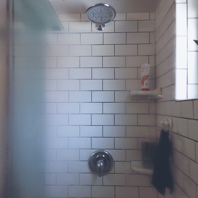Breakin 'er in. #new #bathroom #tile #shower #steamy #homereno #homerenovation #newhome #oldhouse