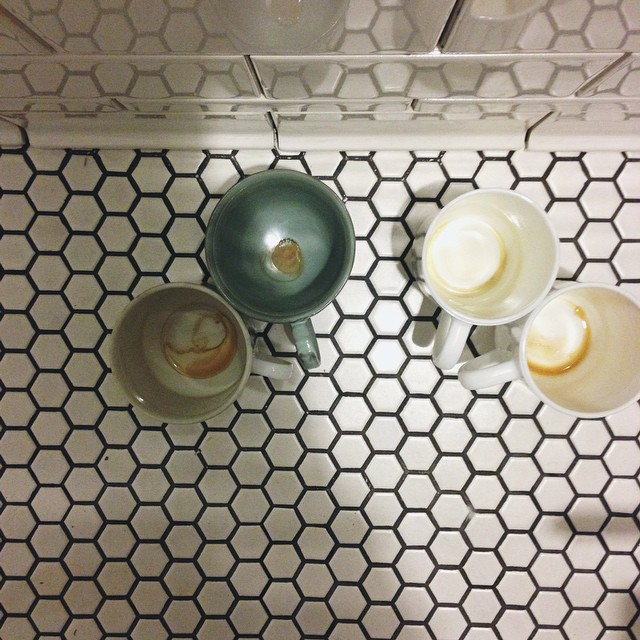 We needed four coffee cups last night - I love having friends who keep us company and help out with house projects! Tile is DONE. Now for grouting and trim painting. I'll be relaxing in that bath before you know it.       #coffee #homereno #latenight #tile #projects #donedonedone #accomplished #newhome #oldhouse