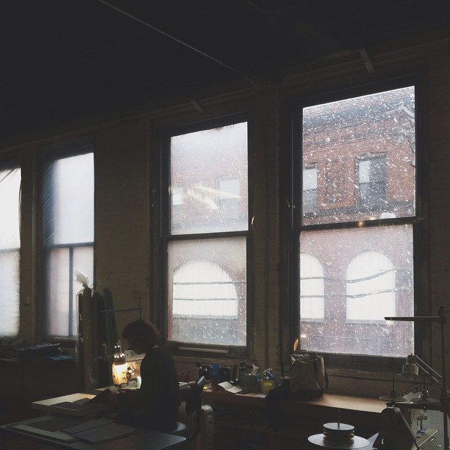 Warehouse windows and big ol' snowflakes. #snowday #moopshop #studio #pittsburgh #warehouse