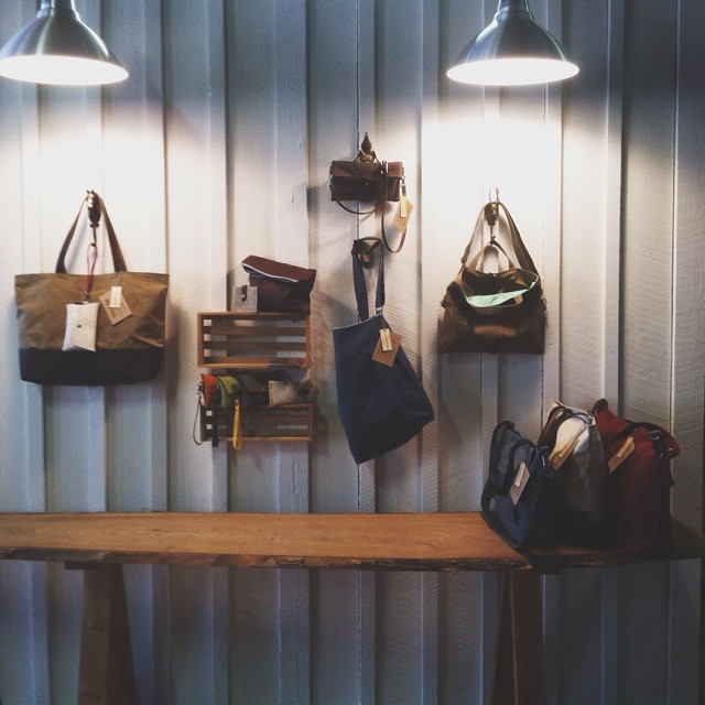 A little display today @moopshop !     #display #productdisplay #waxedcanvas #bag #pittsburgh