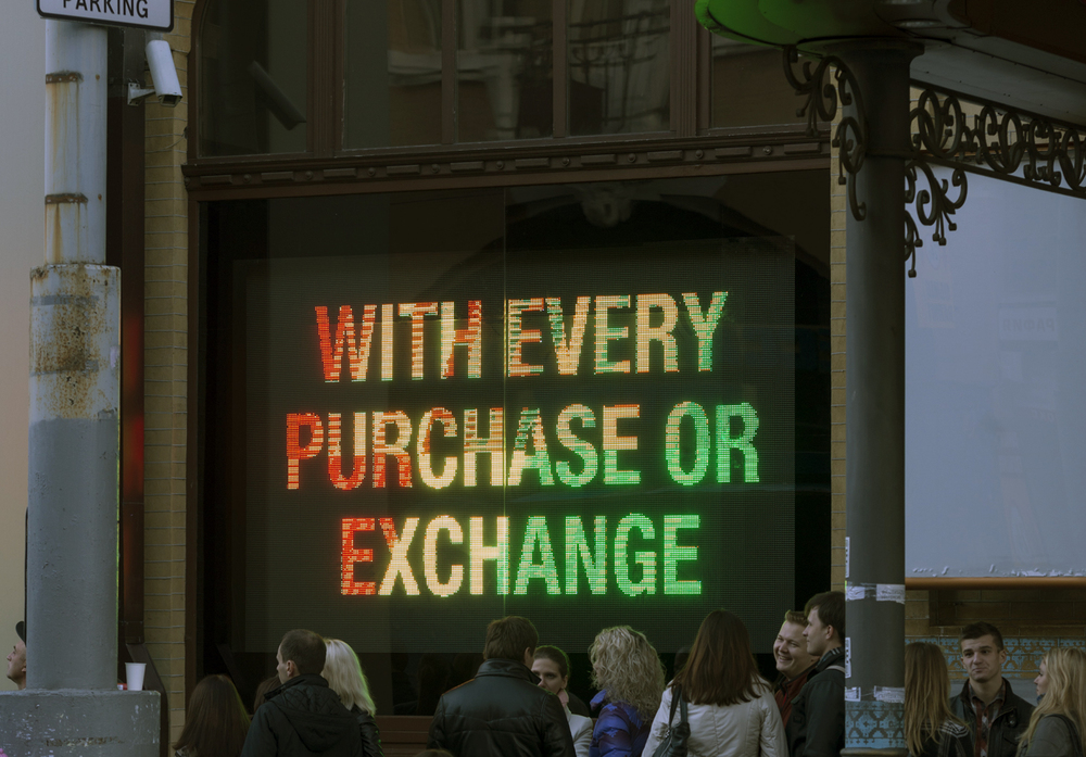 Advice for the Young and the Seekers of Sanity, 2012, Programmable LED screen, flash animated text. 250 x 350 cm. Installation view PinchukArtCentre, Kiev (photo: Sergey Illin).