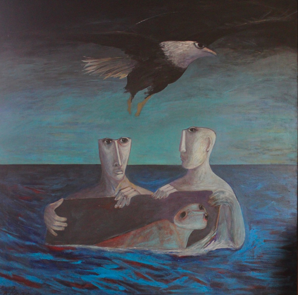 Ahmed Morsi, Burial in Blue Waters, 2002, Acrylic on canvas, 175 x 195 cm. Sharjah Art Foundation Collection.