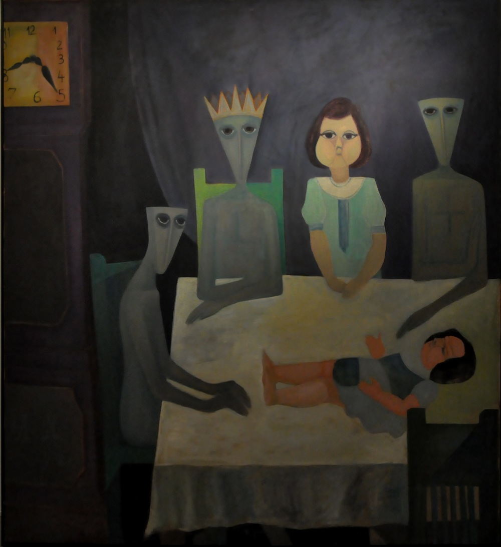 Ahmed Morsi, The Family, 1968, Oil on canvas, 200 x 200 cm, Mathaf: Arab Museum of Modern Art Collection.
