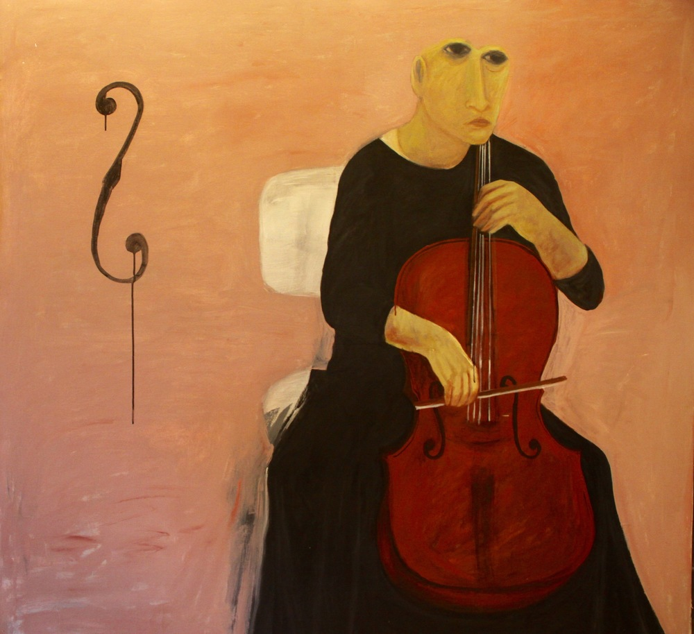 Ahmed Morsi, The Cello Player, 2007, Acrylic on canvas, 173 x 173 cm.