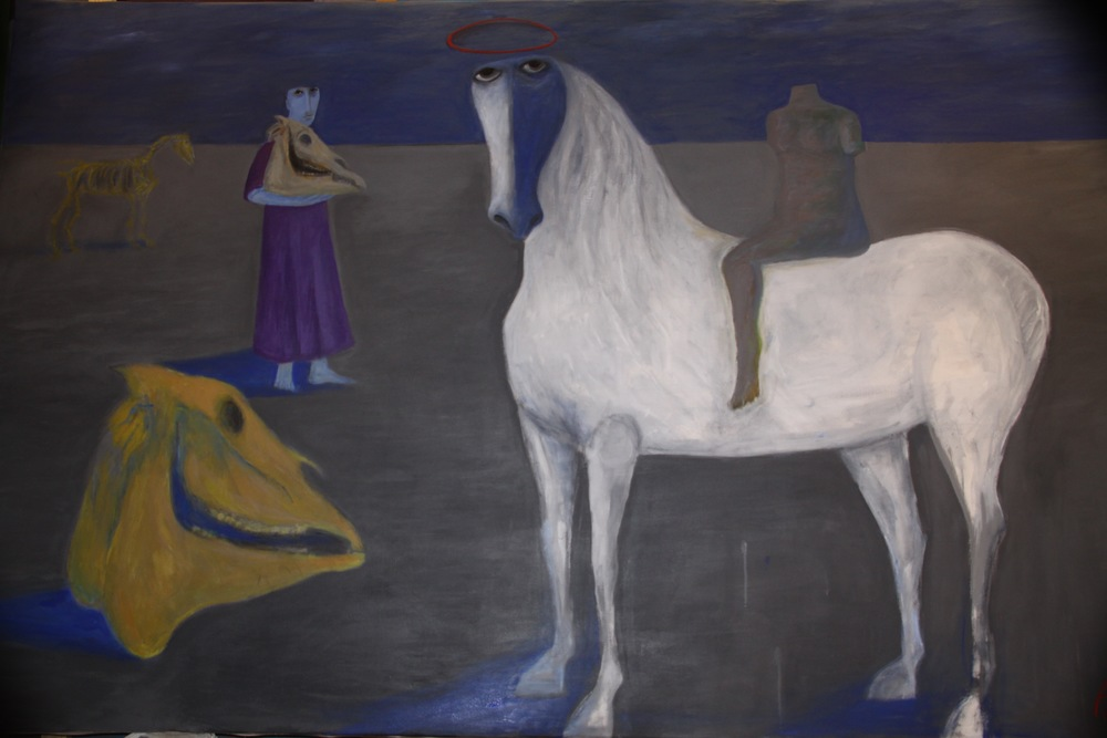 Ahmed Morsi, The White Horse, 2014, Acrylic on canvas, 244 x 152 cm.