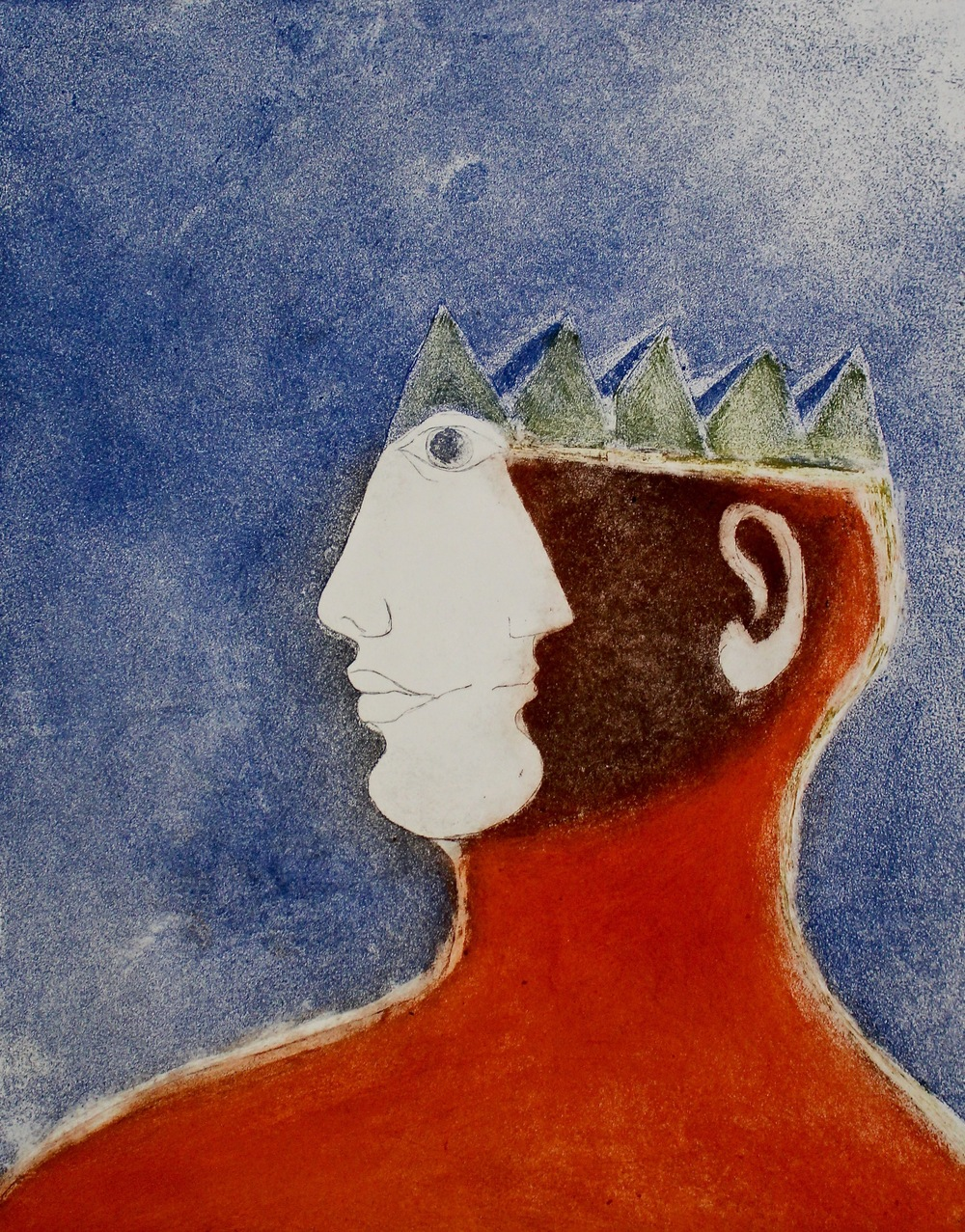 Ahmed Morsi, Crowned Head Series, 1993, Lithograph on zinc plates & Acquatint, 50 x 40 cm.